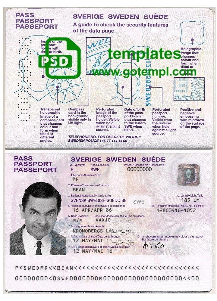Sweden Passport Template In Psd Format Fully Editable With All Fonts Di 2020 Kertas Perahu Listrik