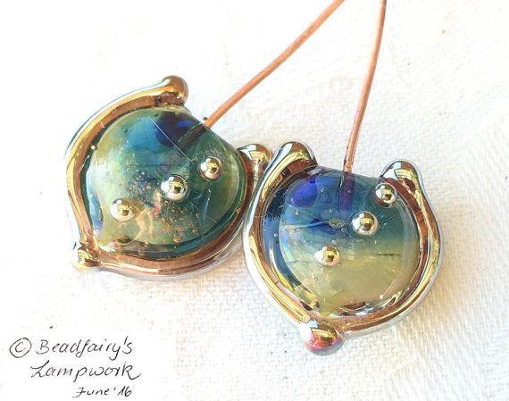 1 pair at the beach silver glass headpins blue ocean sparkle handmade head pins lampwork beads by beadfairy lampwork sra