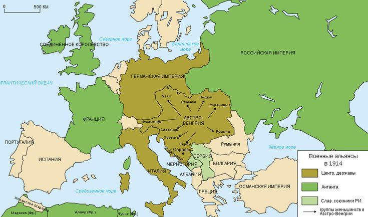 Map Europe alliances 1914-ru - Первая мировая война — Википедия