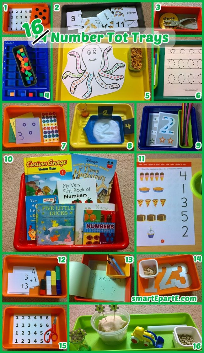16 tot trays all about numbers!