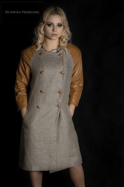 lniany płaszcz eko moda - Estera-Grabarczyk - Kurtki ekologiczne