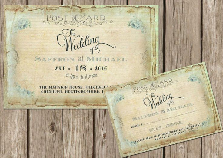 Personalised Shabby Chic Vintage Floral Postcard Wedding Invitations Packs Of10