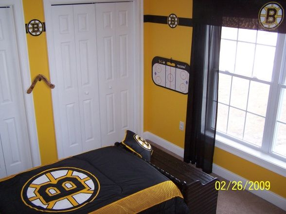 Hockey Bedroom Ideas For Boys   Yellow Wall, Valence, Wall Decal