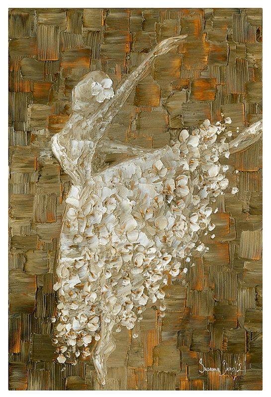 White Dress Ballerina Wall Art Ballerina Art Print Abstract Print on Canvas, Ballet impressionist Wall Decor Painting, Home Decor by Susanna