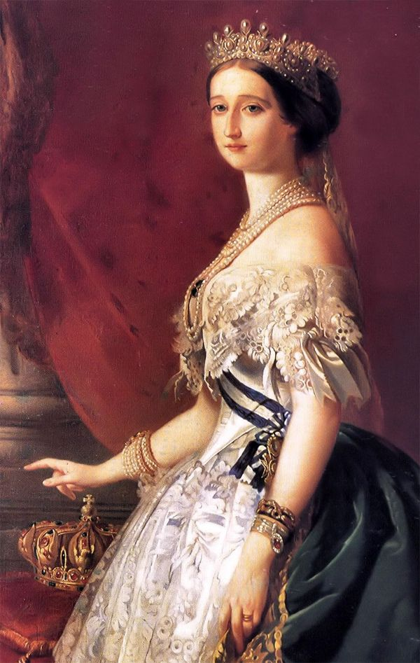 French Empress Eugenie was the celebrated beauty and fashionable wife of Napoleon III. Much of her famous jewel collection is now dispersed amongst Europe's female royalty.