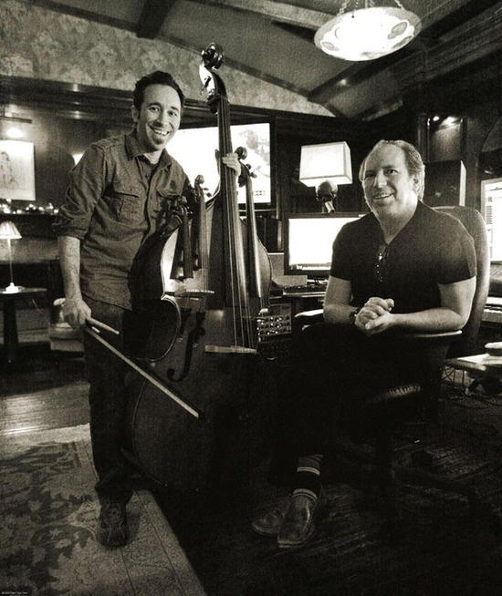 Composer Hans Zimmer and Diego Stocco: inventor of the Experibass (as featured in the film Sherlock Holmes).