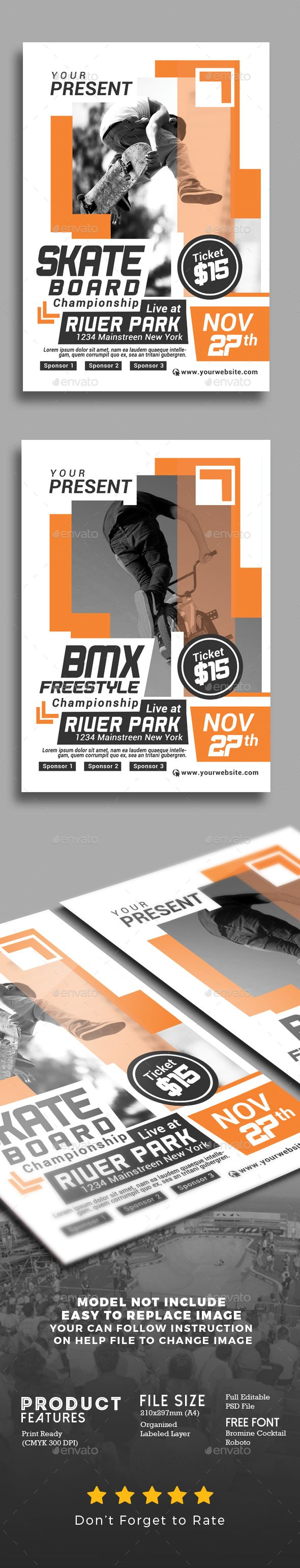 Extreme Sport Competition Flyer Template PSD