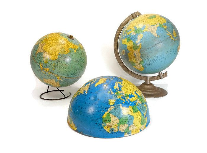 """Old Tin Globe, Rustic 8"""" World Globe by Replogle, School Globe, Retro Mid-Century Vintage Office Decor, Gift for Boss Teacher Student by LifeProject on Etsy"""
