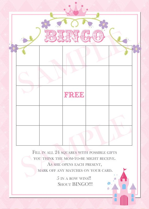 Pretty Pink Princess Baby Shower Bingo Game by PartyPopInvites, $8.00