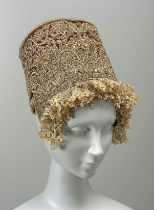 Headdress (kokoshnik). Russian, About 1820. Silk velvet embroidered with metallic yarns, spangles, and colored glass; trimmed with gold gimp and glass beads - in the Museum of Fine Arts Boston. (You must click through and zoom in to see the bead work on this!)