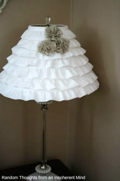 ruffled lamp using pre-ruffled trim from a craft store. make in lavender for the pixie's room
