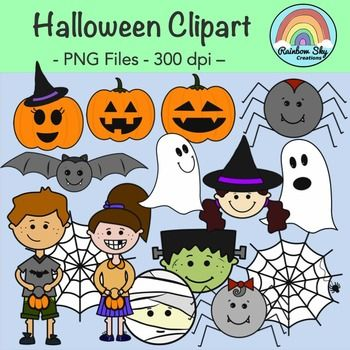 This Halloween Clipart pack contains 28 graphics. 12 coloured graphics and 16 black and white png images. **For personal or commercial use** All graphics are PNG files at 300 dpi for clear, crisp printing with transparent backgrounds.  ~ Rainbow Sky Creations ~