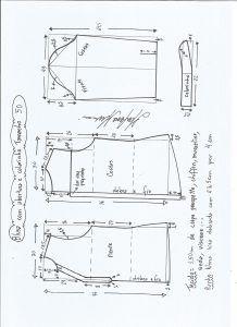 Блуза схема моделирования с открытием и средним размером воротника 50.