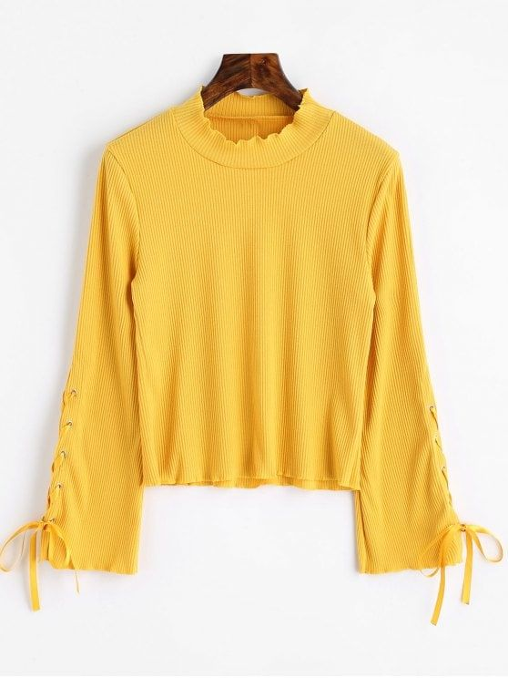 High Neck Lace Up Sleeve Ribbed Knitwear - Yellow Xl #Shoproads #onlineshopping #women #fashion #sweaters #hoodies #winter_clothing