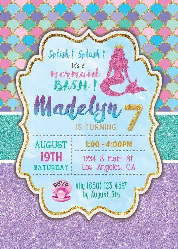Digital Printable Mermaid Birthday Invitation Girl Birthday