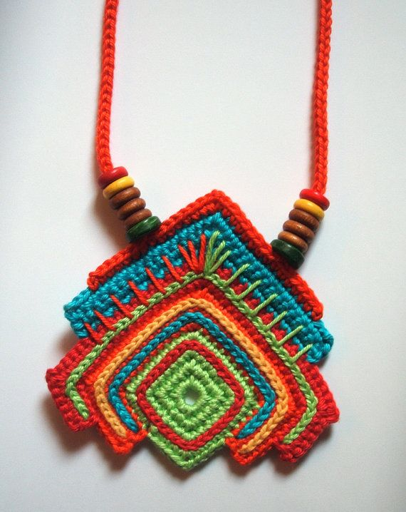 Crochet fiber summer time necklace, bright colored geometric shape with wooden…