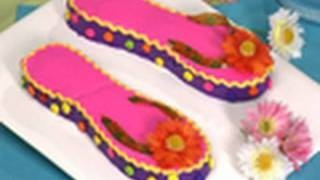 Flip flop cake - How to decorate a flip flop birthday cake, via YouTube.