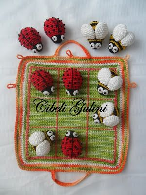 Bees & lady bugs game - inspiration only, no pattern available.