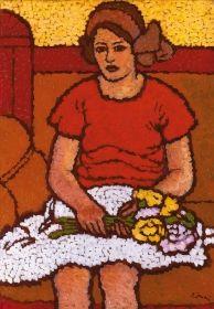 Rippl-Rónai József - Anella virágot tart, 1911