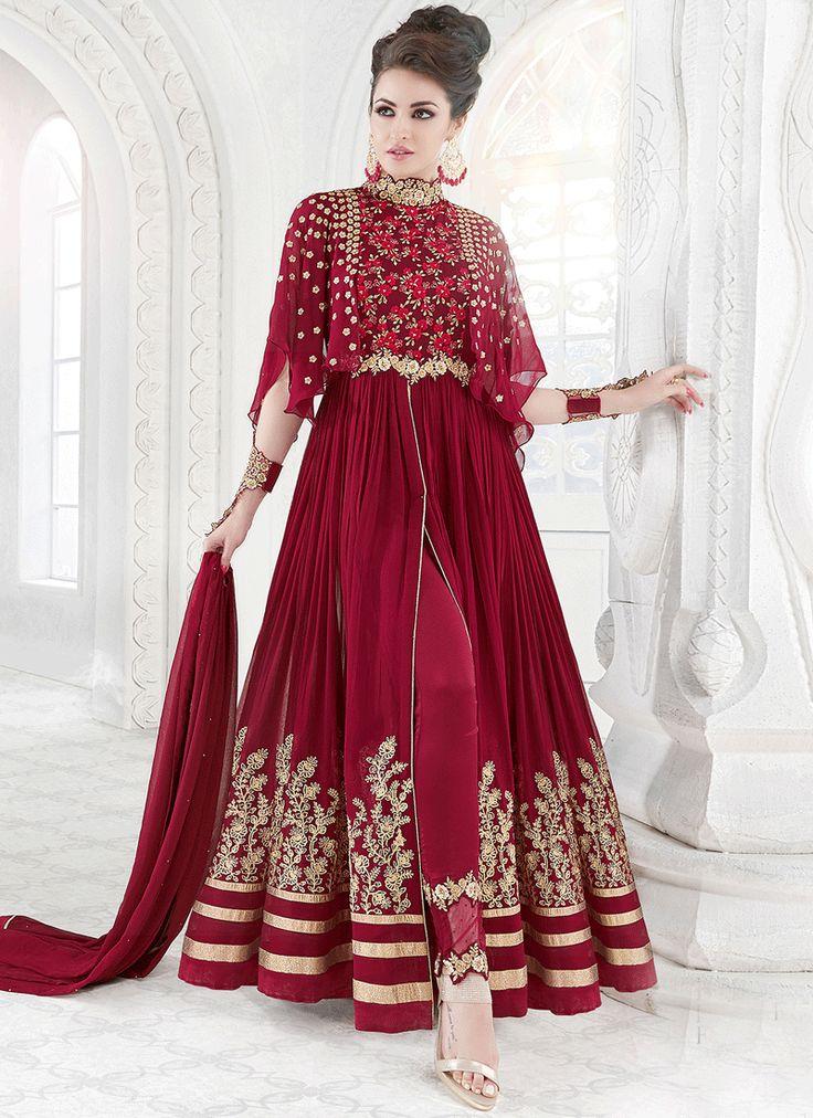 Especial Embroidered Work Net Anarkali Suit