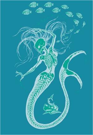 Mermaid Skeleton Art Print, 11 x 14 Inches