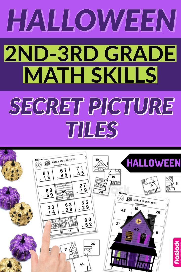Halloween 2nd 3rd Math Skills Secret Picture Tile Printables Math Halloween Math Math Skills [ 1102 x 735 Pixel ]