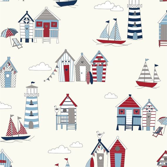 Seaside Beach huts and Boats Hut Houses 100 by TheFabricShopUK, £9.99