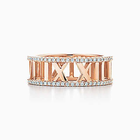 Atlas® open ring in 18k rose gold with diamonds.