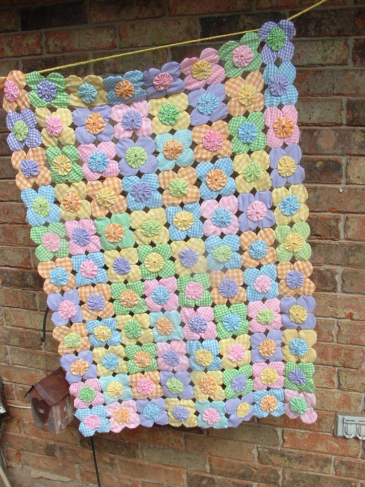 yo yo quilt made with pastel ginghams