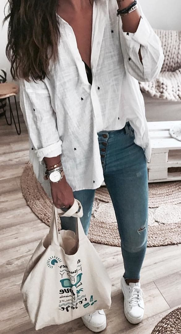 #summer #outfits  White Blouse + Ripped Denim Jeans + White Sneakers