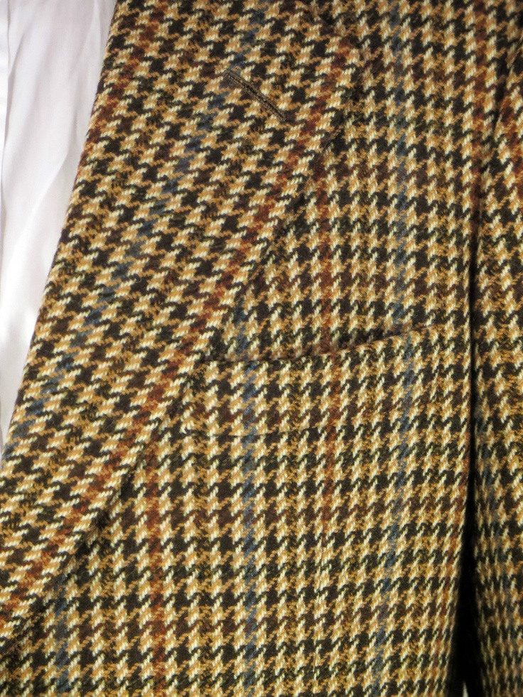 Chester Barrie Houndstooth Striped Brown Sport Coat Jacket