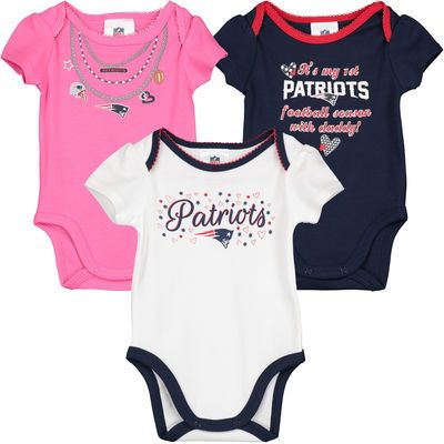 nfl apparel in patriots for infant girls | Girls Infant Navy/White/Pink New England Patriots 3-Pack Bodysuit Set ...