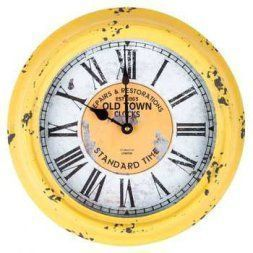 Yellow is a sporty fun and playful color which is why I love  yellow home wall art décor.  Yellow wall  art is the epitome of lively and bold.   Yellow is a happy color and therefore great for decorative accents.  Yellow decorative accents look amazing in any  room.  #yellow #yellowdecor      Antique Yellow Round Old Town Metal Wall Clock