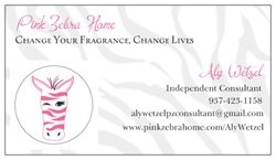 My Vistaprint.com business cards. Now selling Pink Zebra Home products. They make great gifts! Check it out: www.pinkzebrahome.com/AlyWetzel