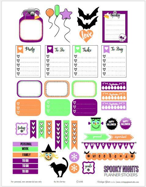Free Halloween Planner Sticker Printable from Vintage Glam Studio