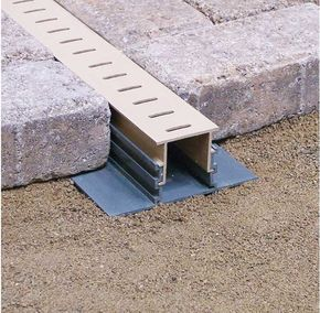 "Maybe something like this Stegmeier Paver Drain off to the right side of the driveway? or under the ""dry creek bed"" of the garden?"