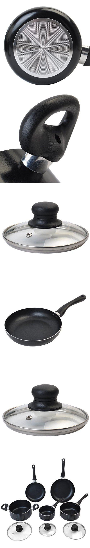 Saucepans Non Stick Cookware Set Aluminum Soft Handle Kitchen Cooking saucepans sets with lids New 8 Piece Black