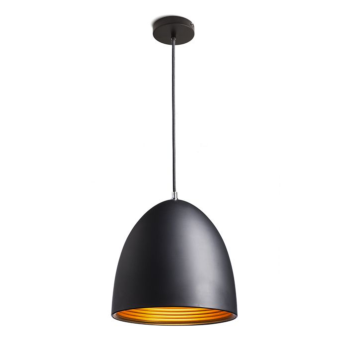 CARISSIMA   rendl light studio   Pendant with a lacquered shade. The shade is black on the outside and gold on the inside. #lamps #pendant #chandelier