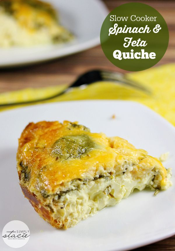 Slow Cooker Spinach & Feta Quiche - Slow Cooker Spinach & Feta Quiche - you won't even miss the crust on this delicious low carb recipe!
