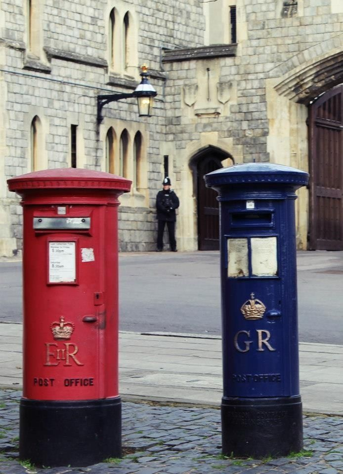 Some exciting post box facts:  The blue post box was utilised from 1930-1938 for air mail letters, when such items were not common; and there are over 100 in London alone.   The colour blue was rightfully chosen to honour the RAF.   This particular blue box is adjacent to the site of the Windsor Post Office,(1887-1966) should you wish to see it, and commemorates the first UK air mail delivery made at this site.   Original post boxes were not red, but green.