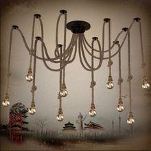 Corde de chanvre lustre Antique classique réglable bricolage plafond araignée lampe rétro Edison ampoule lampe de pédant pour la maison(China (Mainland))