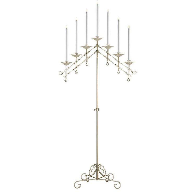 Events Wholesale - 7-Light Adjustable Floor Candelabra, $194.99 (http://www.eventswholesale.com/7-light-adjustable-floor-candelabra/)