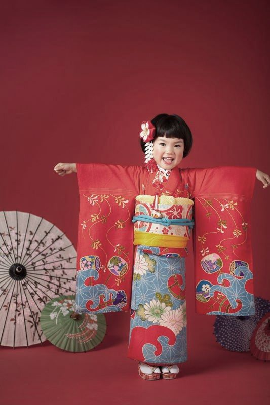 Girl's special furisode-style kimono for a Shinto coming-of-age ceremony. Japan