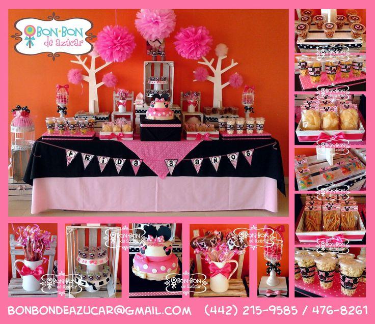 Mesa de dulces y snacks vintage con tema de minnie mouse for Mesas de dulces infantiles