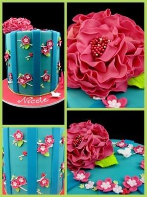 . all-things-cake: Big Flower, Cake Ideas, All Things Cake, Blue Cake, Cake Designs, Bright Cake, Birthday Cakes
