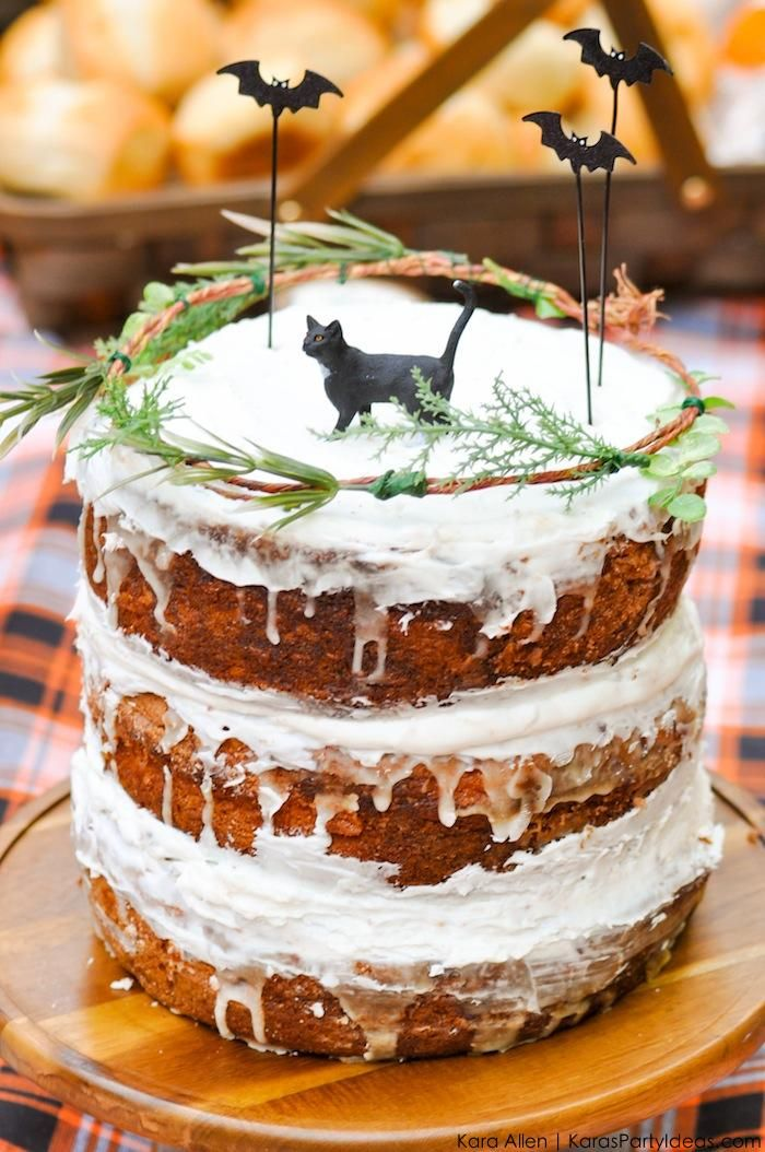 Naked Cake with Bat toppers at a Halloween Black Cat vintage Picnic by Kara's Party Ideas | Kara Allen | KarasPartyIdeas.com