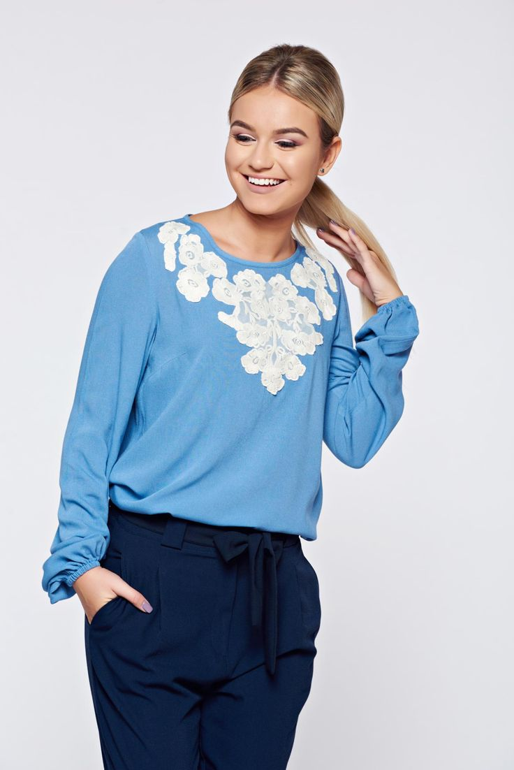 LaDonna flared embroidered blue office women`s blouse, front embroidery, elastic held sleeves, long sleeves, easy cut, nonelastic fabric