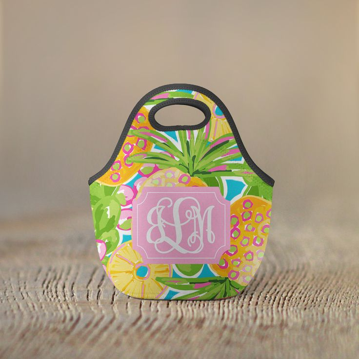 Personalized Lunch Bag - Pineapples with Vine Monogram