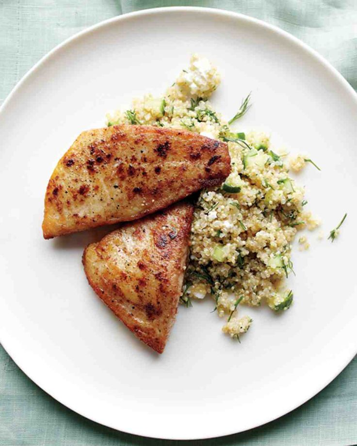 Tilapia and Quinoa with Feta and Cucumber. #Healthy #ATBproject #YCH