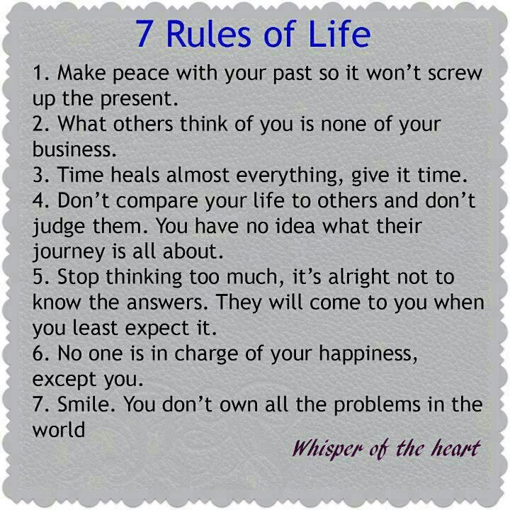 Positive Inspirational Quotes: 7 Rules Of Life...
